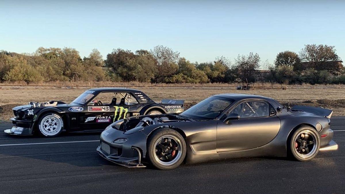 Против супер-Мустанга Кена Блока выставили самую мощную Mazda RX-7 на планете. Видео