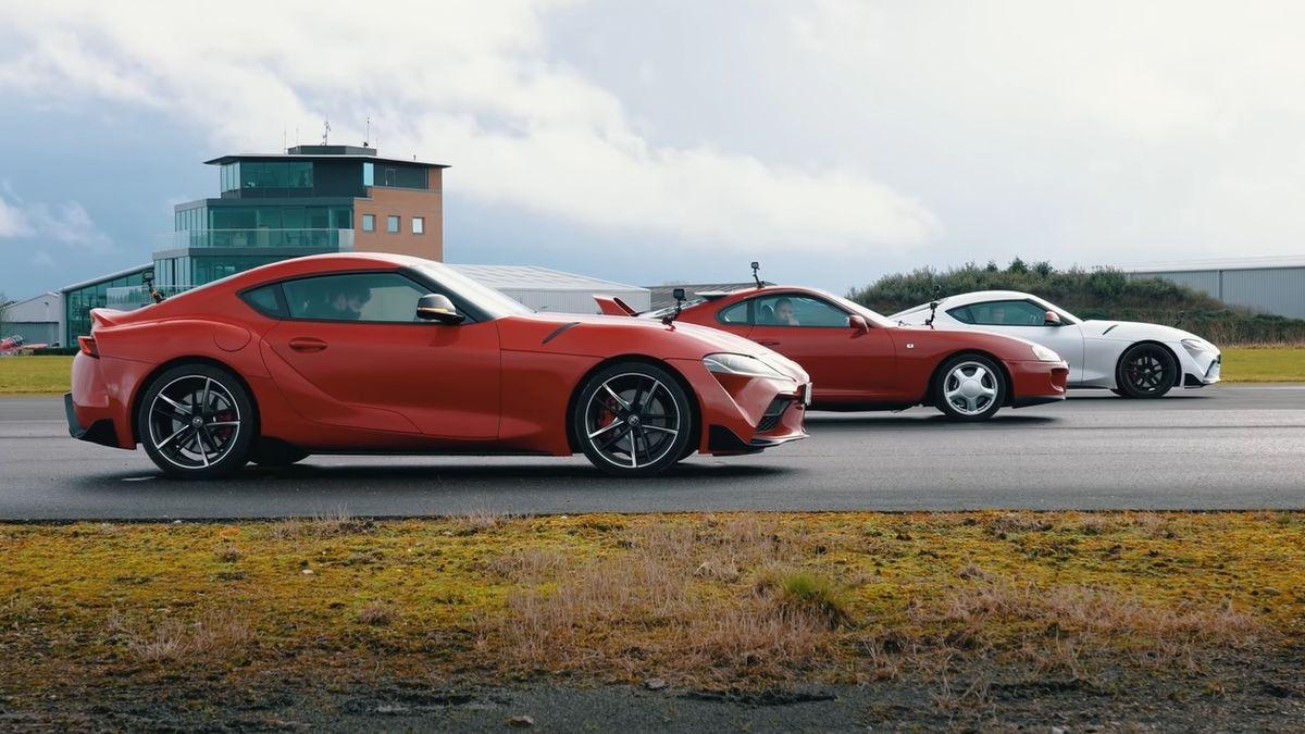 Битва поколений: на прямой сравнили старую Toyota Supra с двумя новыми