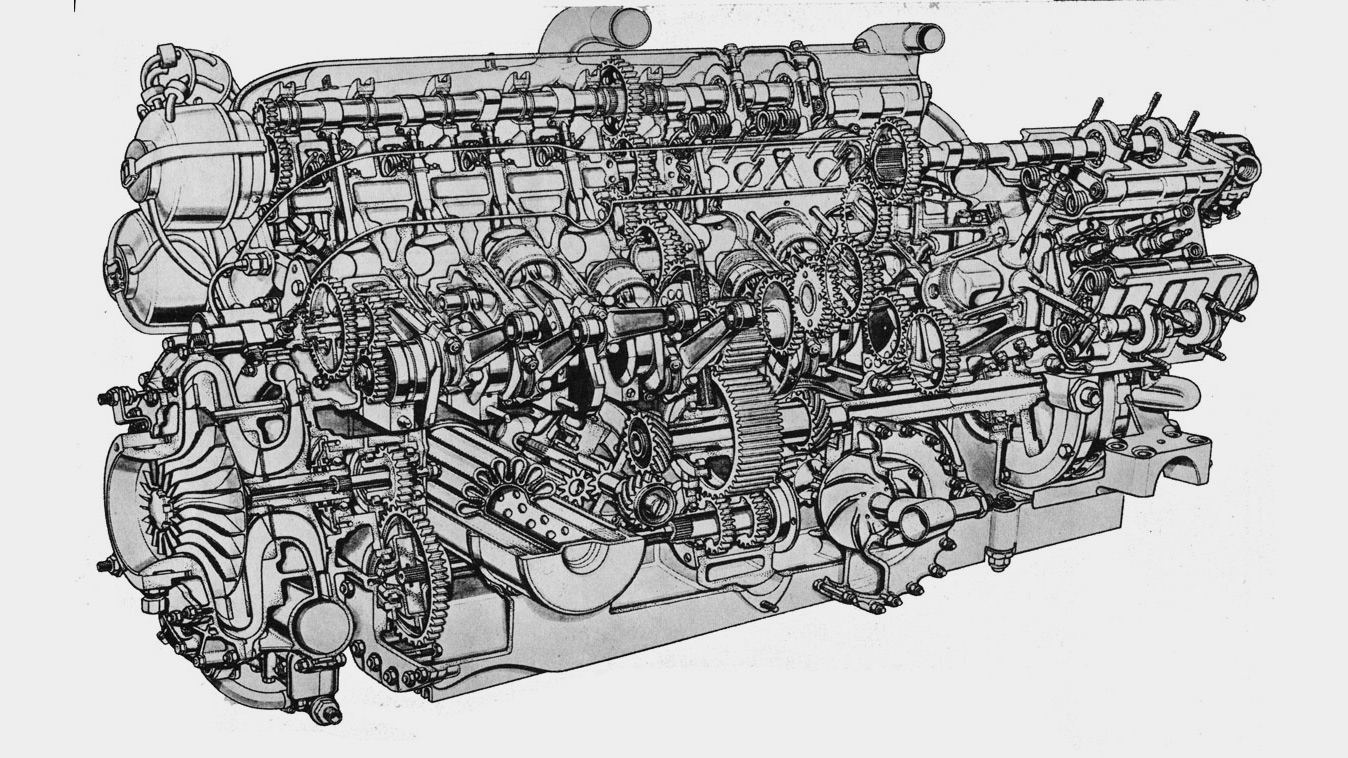 Полуторалитровый «формульный» BRM P15 c шестнадцатью цилиндрами внутри. При массе в две сотни килограммов наддувный мотор имел крошечные 0,09-литровые цилиндры