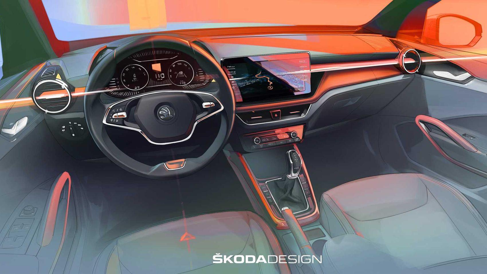 Каким будет интерьер новой Skoda Fabia: первое изображение